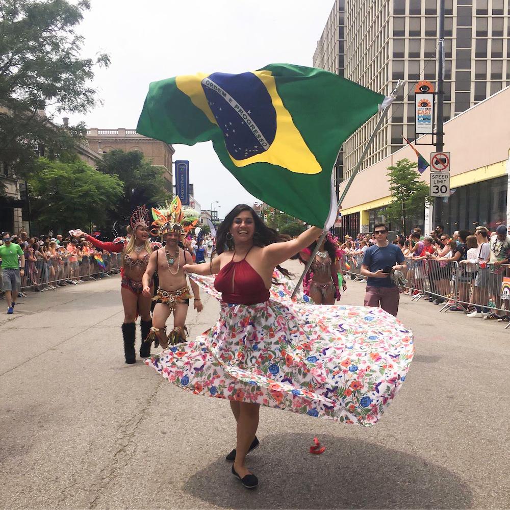 Carla Jensen dances in a festival in Brazil.