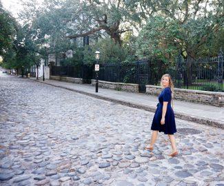 Kelly walks down the street in Charleston, SC