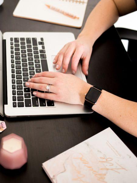 Kelly updating her Career Development Check-In worksheet